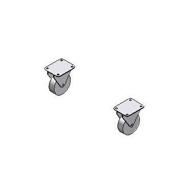 Paire de roues fixes Ø 160mm pour Benne à déchets PP