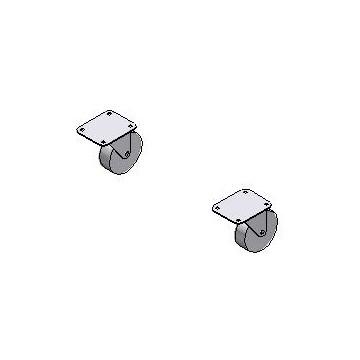 Paire de roues pivotantes Ø 200mm pour Benne à déchets PP