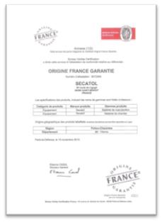 certificat secatol origine france garantie